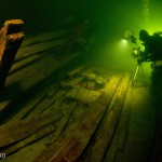 Archaeologist R. Prokhorov does technical photoshooting. Luisa shipwreck